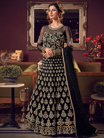 Net Embroidered Dress Material in Black