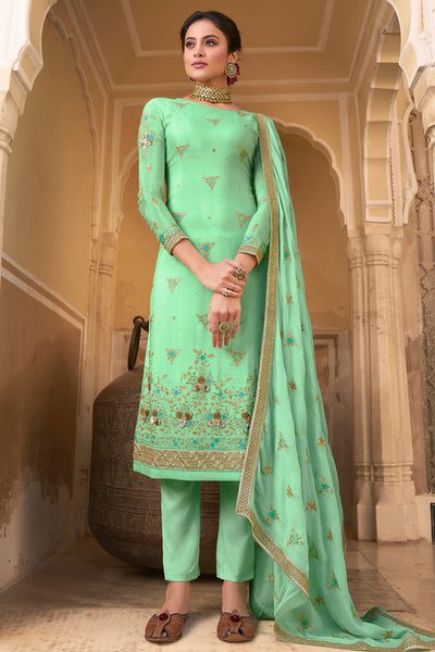 Pure Chiffon Embroidered Salwar Suit in Green