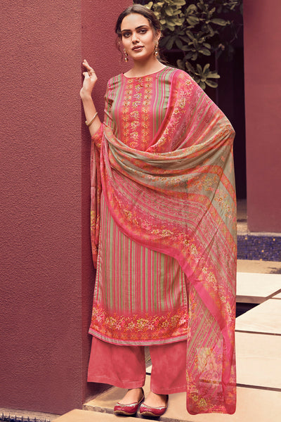 Pashmina Printed Dress Material in Pink