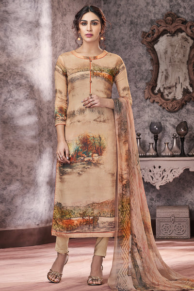 Pashmina Printed Dress Material in Beige