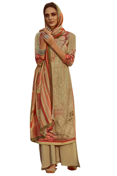 Pure Pashmina Dress Material in Beige
