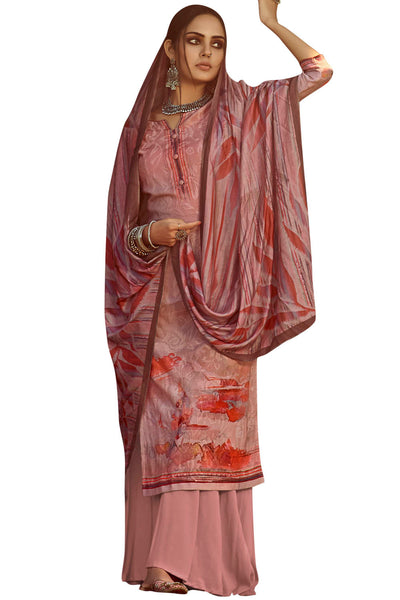 Pure Pashmina Dress Material in Pink