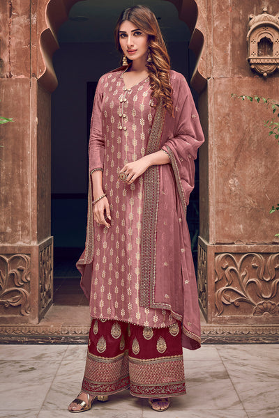 Dola Art Silk Embroidered Dress Material in Pink