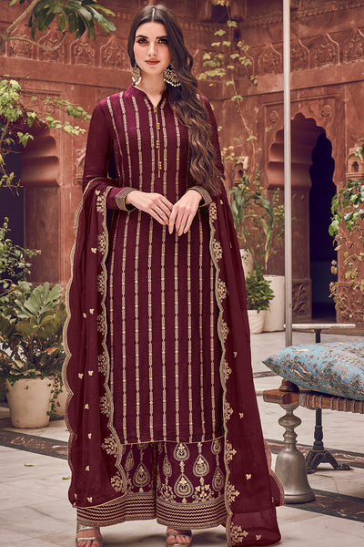 Dola Art Silk Embroidered Dress Material in Wine