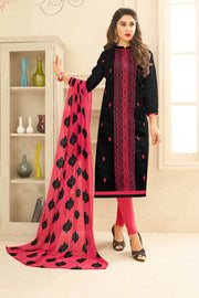 Buy Blended Cotton Jacquard Embroidered Dress Material in Black