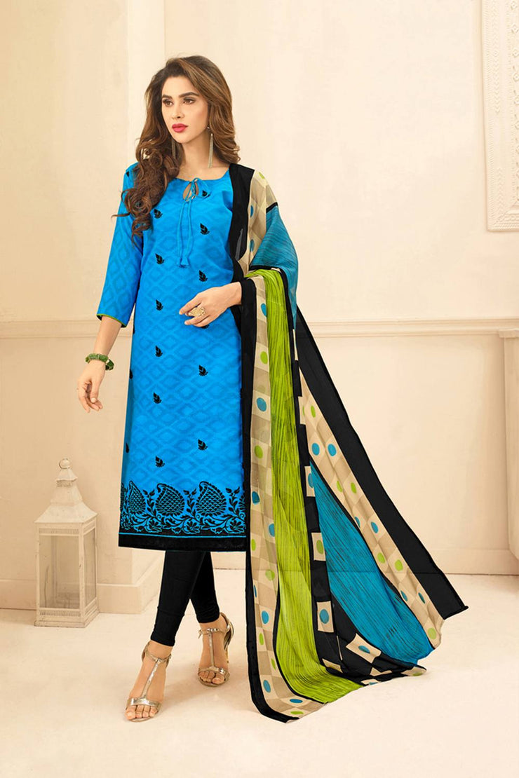Buy Blended Cotton Jacquard Embroidered Dress Material in Blue