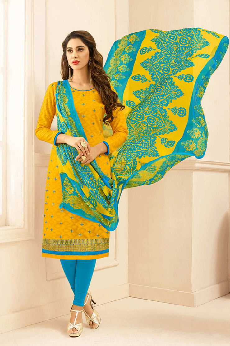 Buy Blended Cotton Jacquard Embroidered Dress Material in Yellow