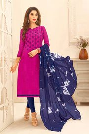 Buy Blended Cotton Jacquard Embroidered Dress Material in Dark Pink
