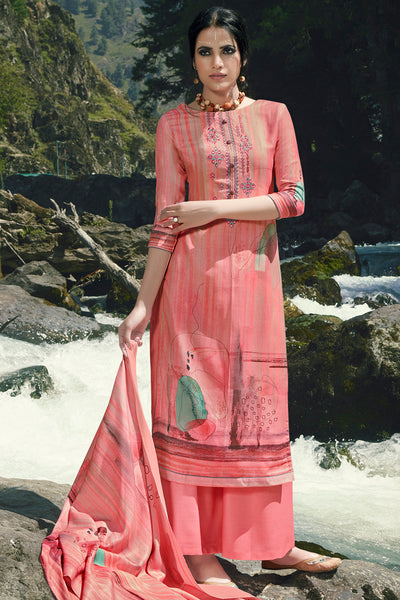 Pashmina Digital Printed Dress Material in Pink