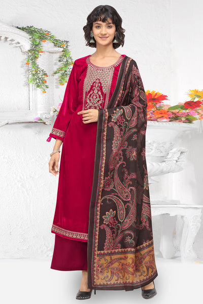 Velvet Embroidered Dress Material in Red