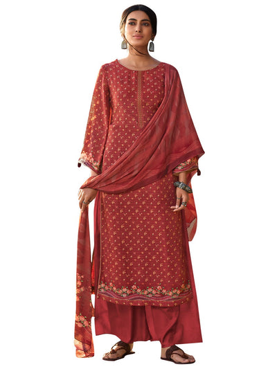Buy Muslin Digital Printed Dress Material In Red