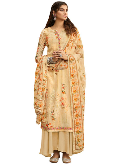 Buy Faux Georgette Embroidered Dress Material In Beige