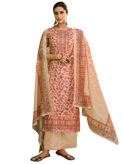 Buy Jam Satin Digital Printed Dress Material In Beige