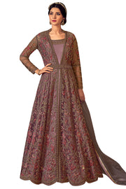 Buy Net Embroidered Dress Material In Pink