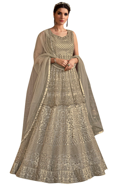 Buy Net Embroidered Dress Material In Cream