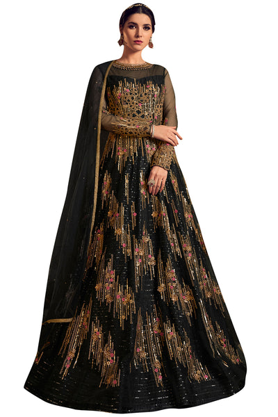 Buy Net Embroidered Dress Material In Black