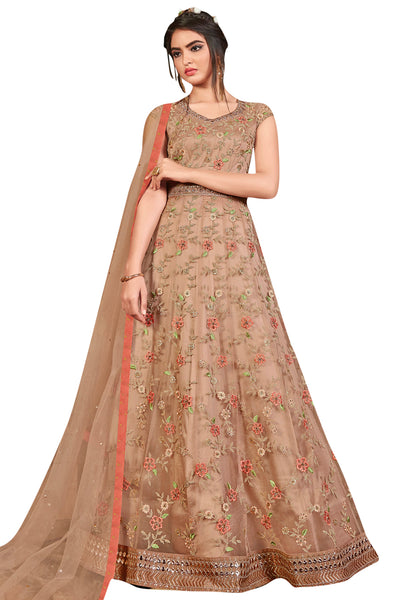 Buy Net Embroidered Dress Material in Beige