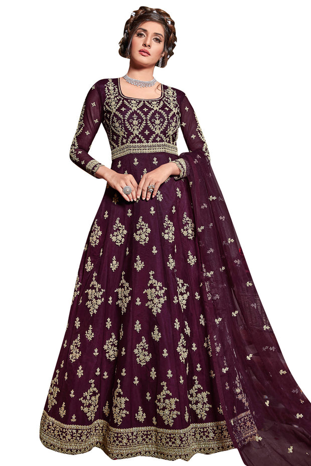 Buy Net Embroidered Dress Material in Wine