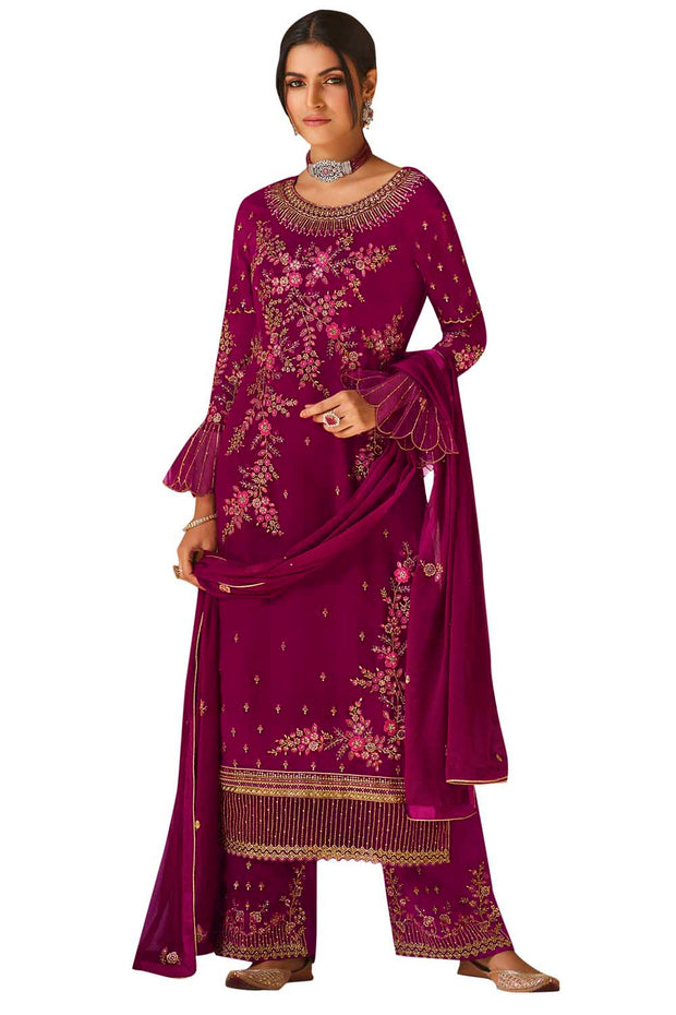 Buy Faux Georgette Embroidered Dress Material In Magenta