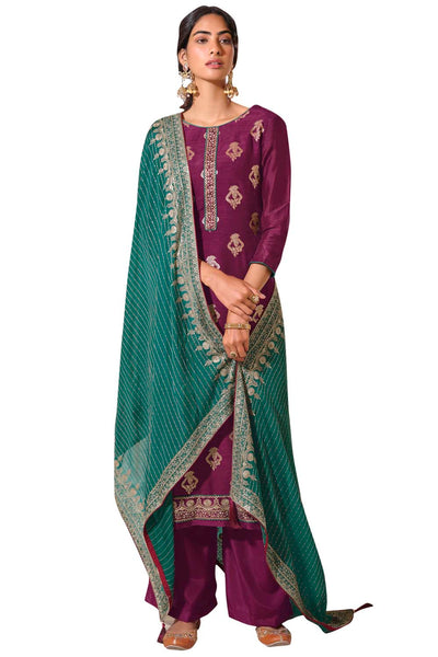 Buy Art Silk Embroidered Dress Material In Wine