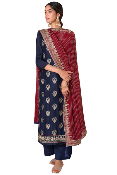 Buy Art Silk Embroidered Dress Material In Navy Blue