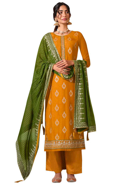 Buy Art Silk Embroidered Dress Material In Yellow
