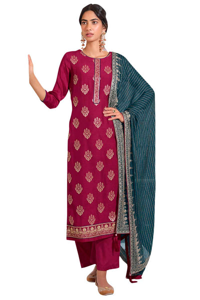 Buy Art Silk Embroidered Dress Material In Magenta