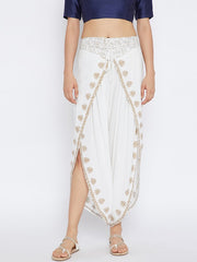 Bitterlime Women's Viscose Dhoti in White