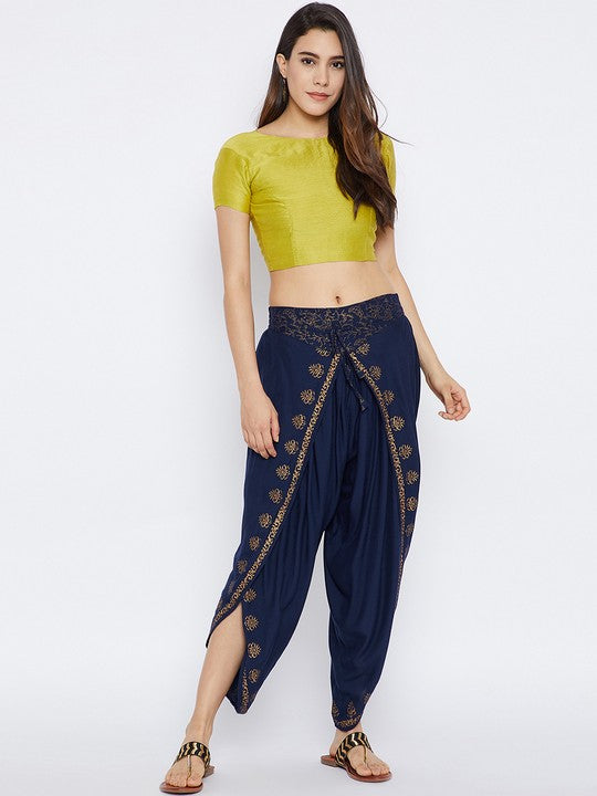 Bitterlime Women's Viscose Dhoti in Navy Blue