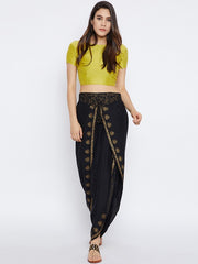 Bitterlime Women's Viscose Dhoti in Black
