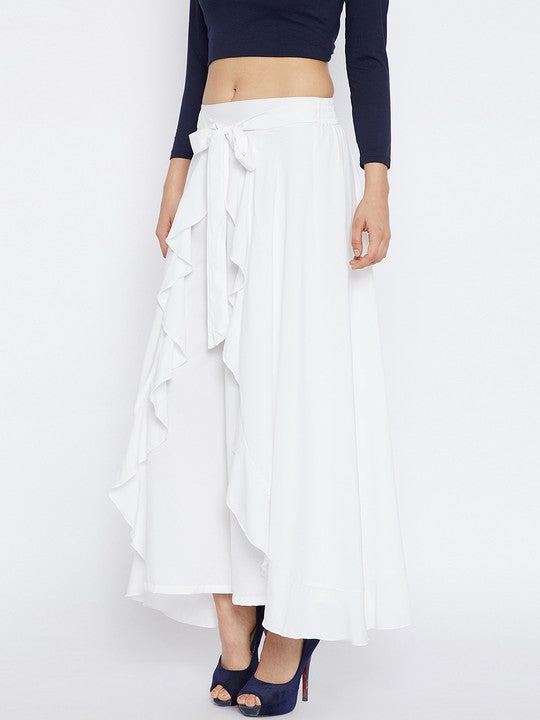 Polyester Palazzo Skirt in White