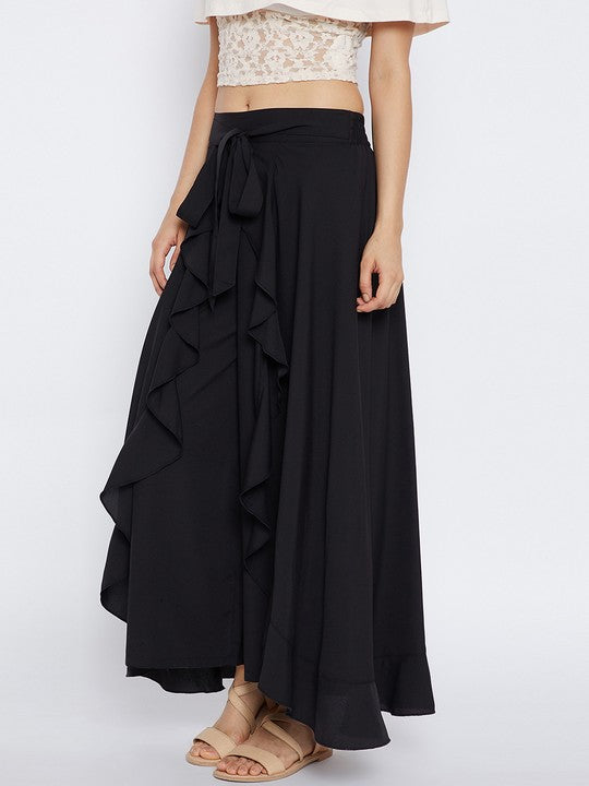 Bitterlime Polyester Palazzo Skirt in Black
