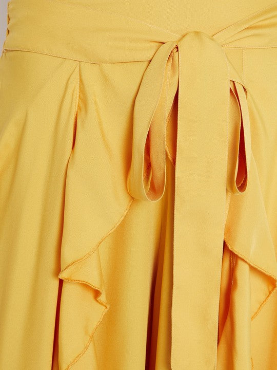 Polyester Palazzo Skirt in Mustard
