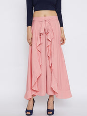 Bitterlime Women's Polyester Palazzo Skirt in Peach