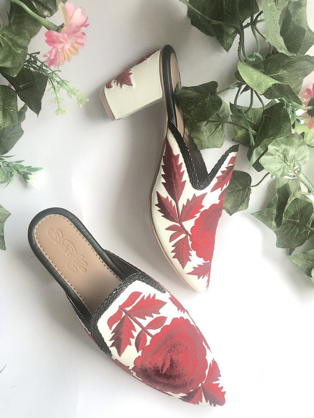 Vegan Leather Block Heels in White and Red
