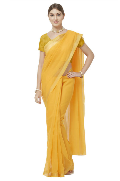 Buy Poly Cotton Saree in Yellow