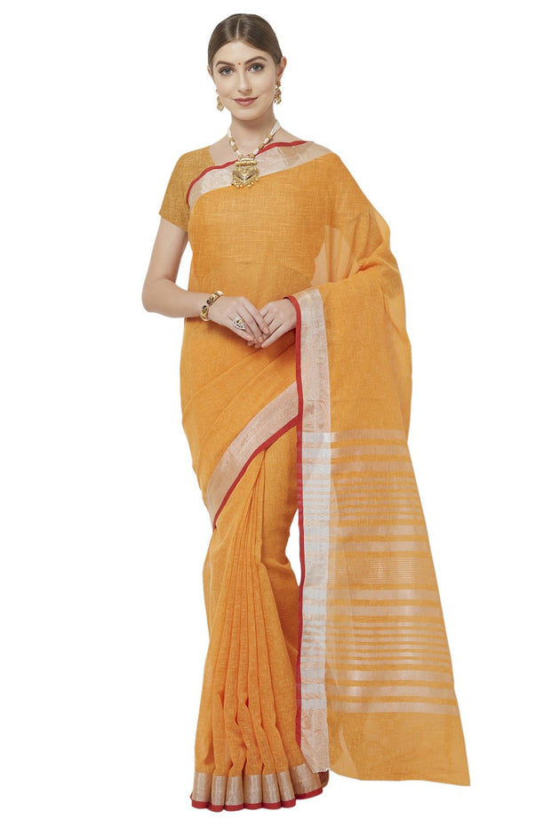 Linen Silk Solid with Woven Border Saree in Orange