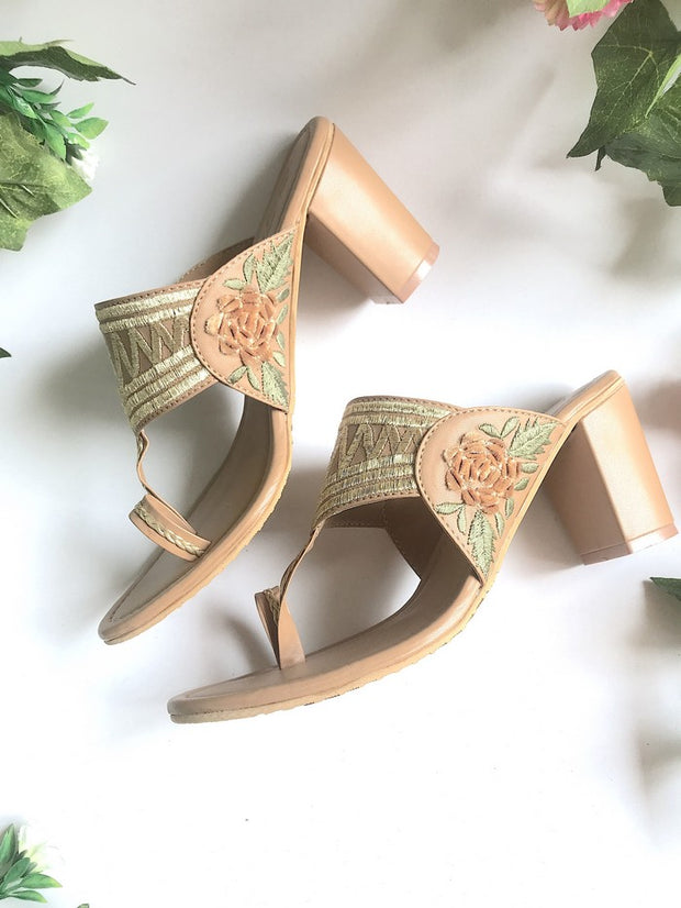 Vegan Leather Kolhapuri Block Heels in Gold