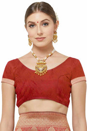 Red Saree Contrast Blouse