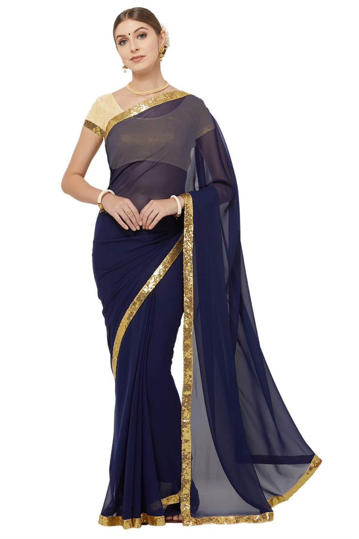 Buy Faux Georgette Saree in Navy Blue