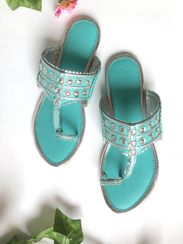 Vegan Leather Kolhapuri Flats in Turquoise