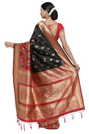 Banarasi Art Silk Woven Saree in Black and Red