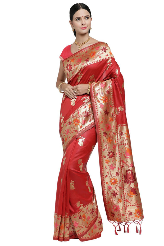 Banarasi Art Silk Woven Saree in Red