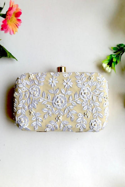 Women's Soft Faux Leather Clutch Box in Cream