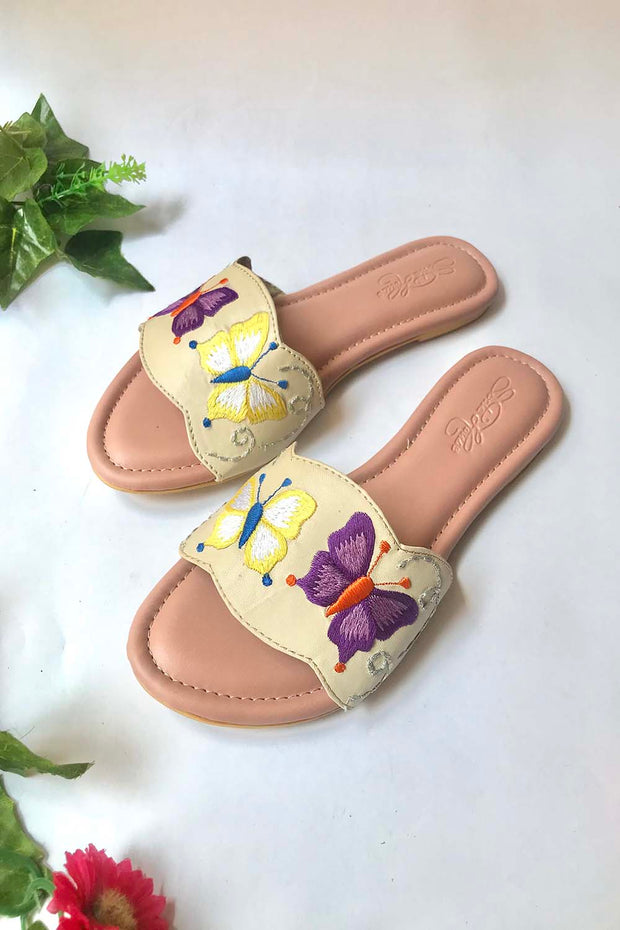 Soft Faux Leather Flats in Cream and Purple