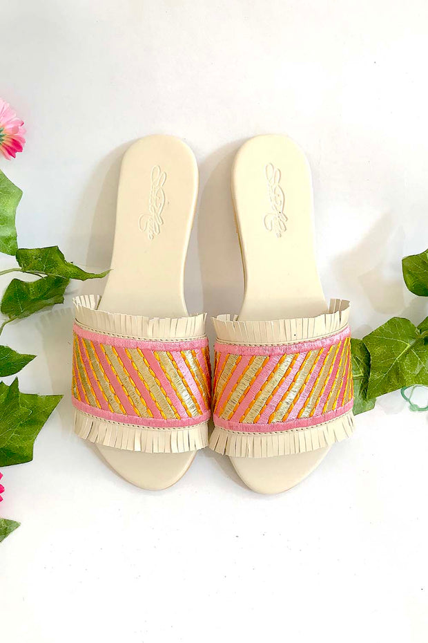Soft Faux Leather Flats in Cream and Pink