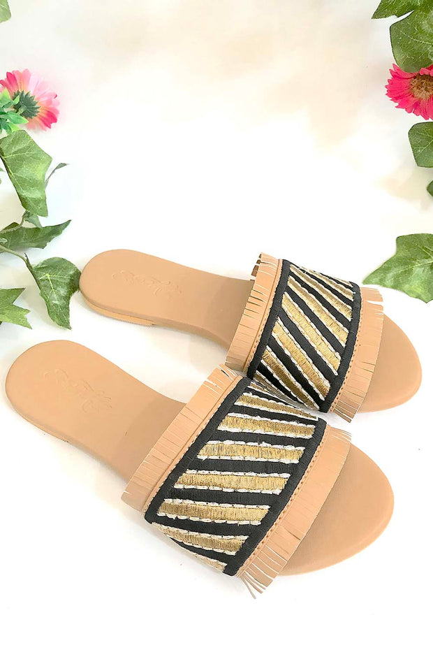 Soft Faux Leather Flats in Black and Gold