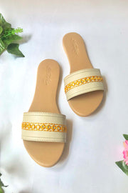 Soft Faux Leather Flats in Orange and Cream