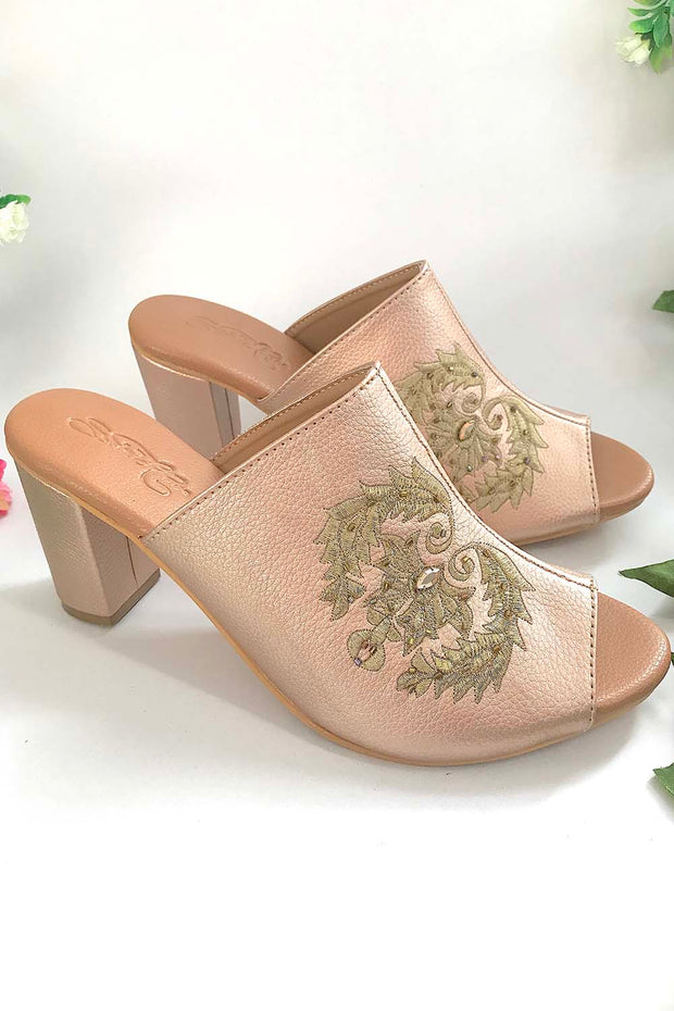 Soft Faux Leather Mules Block Heel in Rose Gold and Gold