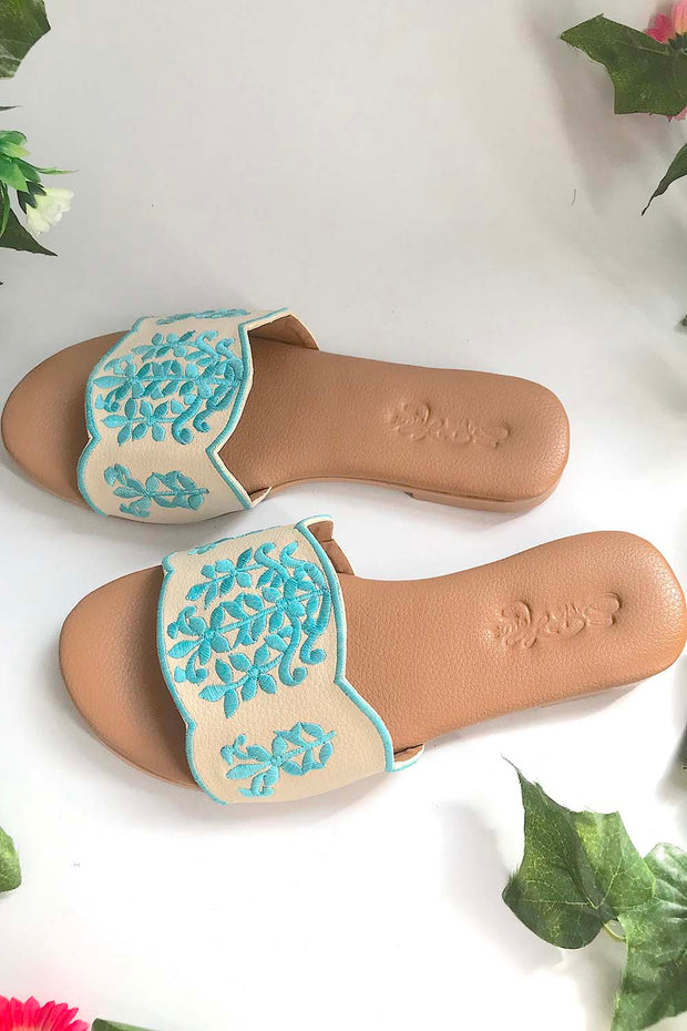 Soft Faux Leather Flats in Cream and Turquoise